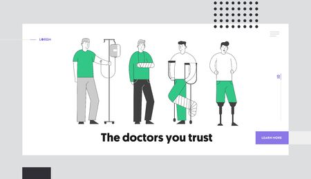 Disability Concept Website Landing Page. Disabled Patients Stand in Raw. Man with Dropper, Broken Hand and Leg, Handicapped Person with Feet Prosthesis Web Page Banner Cartoon Flat Vector Illustration