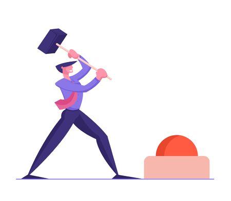 Businessman Hitting Huge Red Button with Hammer. Leadership in Business. Strong Man Achieve Career Goal. Challenge, Task Solution, Motivation Solving Problem Concept Cartoon Flat Vector Illustration Illustration