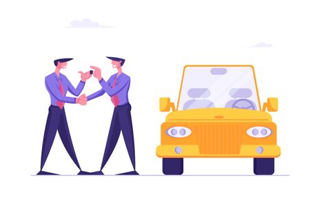Buying New Luxury Car in Auto Salon or Carsharing. Dealer Center Manager Giving Keys from Modern Auto to Happy Owner. Businessman Reaching Success in Business Concept Cartoon Flat Vector Illustration  イラスト・ベクター素材