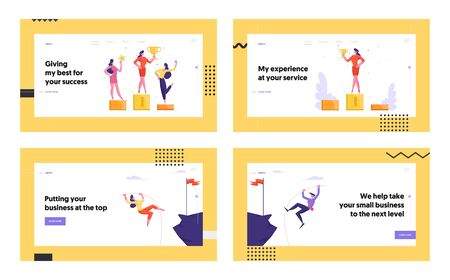 Business People Winners on Pedestal, Pole Vaulting Website Landing Page Set. Office Employees Team Posing with Golden Goblet. People Achieve Goal Web Page Banner. Cartoon Flat Vector Illustration Banco de Imagens - 129763016