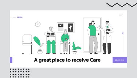 Doctor Appointment Website Landing Page. Senior Patients Sitting in Clinic or Hospital Hall for Health Care Treatment Reading Newspaper and Smartphone Web Page Banner. Cartoon Flat Vector Illustration
