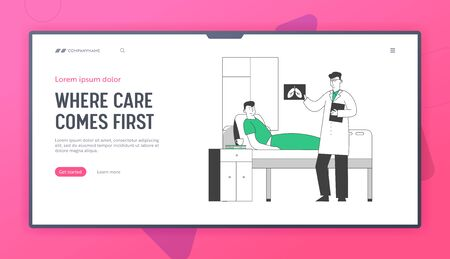 Health Care Website Landing Page. Man Lying in Pulmonology Department Chamber in Hospital. Doctor Watching on X-rays Image of Lungs during Appointment Web Page Banner. Cartoon Flat Vector Illustration Иллюстрация