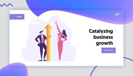 Male and Female Characters Business Winners Website Landing Page. Businesswoman with Finger Up to Sky Stand near Businessman Holding Huge Golden Arrow Web Page Banner. Cartoon Flat Vector Illustration 일러스트