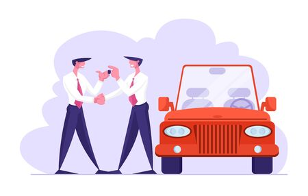 Business Car Sharing Service Concept, Auto Rental, Test Drive or Carpool. Businessman Dealer in Formal Suit Give Key to Driver. Selling, Leasing or Renting Automobile Cartoon Flat Vector Illustration 일러스트