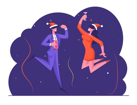 Joyful Managers or Colleagues Celebrating Christmas Together. Happy Business Man and Woman in Santa Hat Having Fun Drinking Champagne at Office Party Corporate Culture Cartoon Flat Vector Illustration Illustration