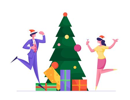 Happy Workers Having Fun. People Celebrate Xmas Party in Office Dancing at Decorated Christmas Tree with Gifts. Joyful Managers in Workplace. Cheerful Colleagues Cartoon Flat Vector Illustration
