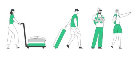 People Tourists Traveling Set. Young Couple Hiking with Backpacks, Man and Woman with Luggage Hurry on Plane or Registration. Summer Vacation Holidays Hobby Cartoon Flat Vector Illustration, Line Art
