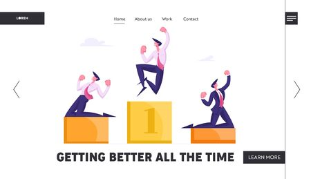 Managers Celebrate Successful Deal Website Landing Page. Happy Business People Stand on Winners Pedestal with Hands Up Crying Yeah, Great Results Web Page Banner. Cartoon Flat Vector Illustration