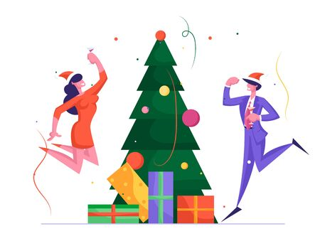 Business People Have Fun on Office Christmas Party in Happy Company of Colleagues. New Year Celebration at Work with Champagne, Decorated Xmas Tree and Confetti. Cartoon Flat Vector Illustration