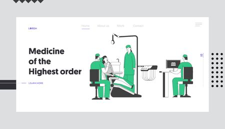 Patient at Dentist Office Website Landing Page. Young Woman Sitting in Medical Chair at Stomatology Cabinet, Doctor Watching X-ray of Bad Tooth on Pc Web Page Banner. Cartoon Flat Vector Illustration  イラスト・ベクター素材