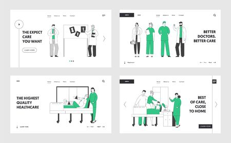 Professional Medical Staff at Work in Hospital Website Landing Page Set. Doctors and Nurses Work with Patients in Clinic, Concilium Meeting Healthcare Web Page Banner. Cartoon Flat Vector Illustration