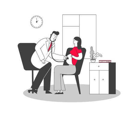 Pregnant Woman at Doctor Appointment in Clinic. Male Doctor Character Listening Baby Heart Beating Put Stethoscope on Female Belly. Pregnancy Check Up, Maternity. Cartoon Flat Vector Illustration