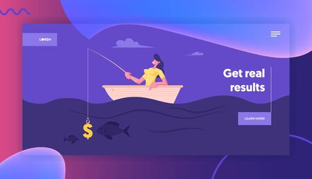 Business Opportunities Metaphor Website Landing Page. Successful Businesswoman Have Good Catch during Fishing in Boat. Woman Having Dollar Sign as Bait Web Page Banner Cartoon Flat Vector Illustration Ilustração