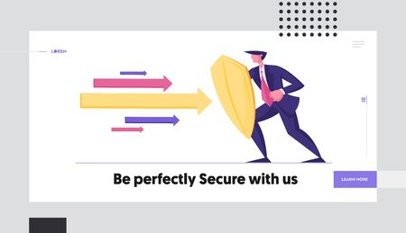 Business Secure and Protection Website Landing Page. Businessman Holding Golden Shield Protecting himself from Huge Multicolored Arrows Flying at him Web Page Banner. Cartoon Flat Vector Illustration