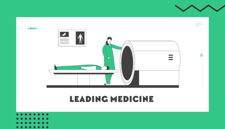 Mri Scanner in Hospital Website Landing Page. Magnetic Resonance Imaging Digital Technology in Medicine Diagnostic. Doctor and Patient in Clinic Web Page Banner. Cartoon Flat Vector Illustration