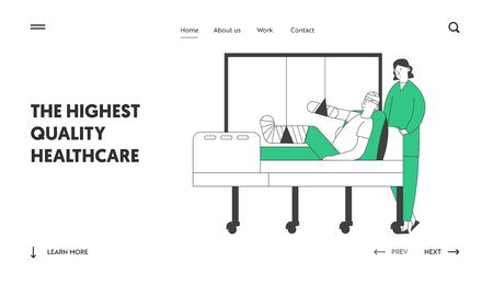 Staff Medical Detour in Traumatology Department in Hospital Website Landing Page. Nurse Stand in Chamber with Patient Lying on Bed with Bounded Head Web Page Banner. Cartoon Flat Vector Illustration