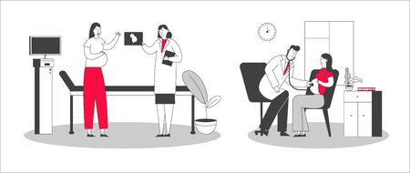 Woman Waiting Newborn Baby Visiting Clinic. Pregnant Female Character at Doctor Appointment Medical Check Up. Ultrasound Belly, Listening Baby Heart. Healthy Pregnancy Cartoon Flat Vector Illustration Çizim