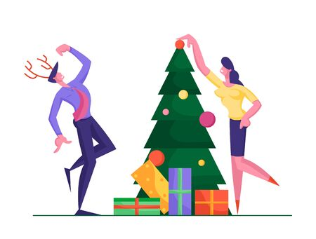 Happy Business People Decorate Christmas Tree and Prepare Gift Boxes Together. Woman Put Ball on Spruce, Businessman Wearing Deer Horns Dancing. New Year Celebration Cartoon Flat Vector Illustration