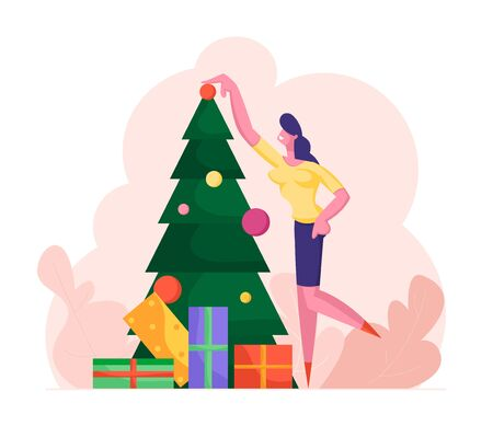 Business Woman Decorating Christmas Tree with Many Gifts and Put Ball on Top. Happy Girl Character Preparing for New Year and Xmas Celebration. Winter Season Holidays Cartoon Flat Vector Illustration 向量圖像