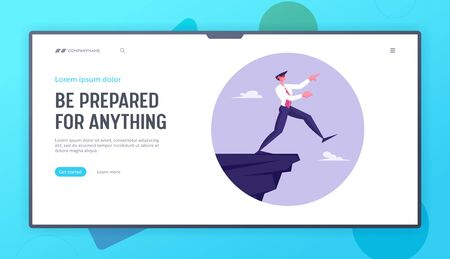 Business Risk and Bankruptcy Website Landing Page. Blindfold Businessman Step into Abyss. Leap of Faith Concept with Business Man Walks Off the Cliff Web Page Banner. Cartoon Flat Vector Illustration