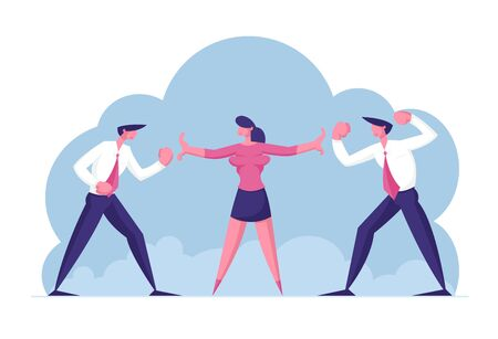 Two Business Men Enemies or Opponents Standing Head to Head Arguing and Staring at Each Other. Work Conflict Between Colleagues or Office Workers. Fight for Leadership Cartoon Flat Vector Illustration