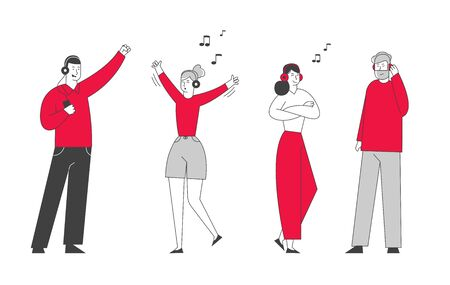 Happy People Clubbing and Dancing Disco at Night Club Party. Men and Women Characters Wearing Headset Listening Music and Dance at Nightclub. Nightlife Event Cartoon Flat Vector Illustration, Line Art Фото со стока - 129828468
