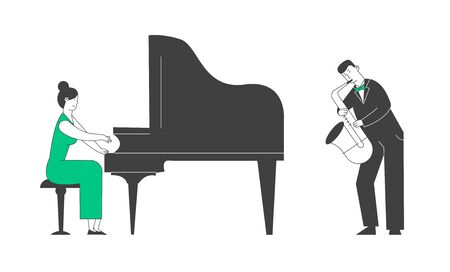Pianist and Saxophone Player in Concert Costume Playing Musical Composition on Grand Piano and Sax for Jazz Performance on Stage. Artists Performing on Scene Cartoon Flat Vector Illustration, Line Art