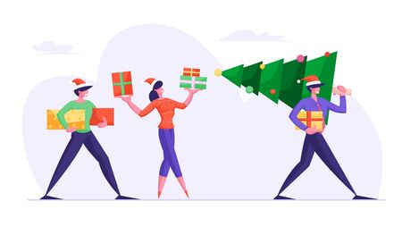 Happy Friends Carrying Christmas Tree Preparing for Winter Season Holidays. Business People Walking on Corporate Party with Gifts and Greetings. Colleagues Event. Cartoon Flat Vector Illustration Çizim