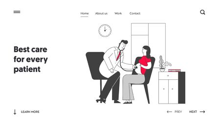 Pregnancy Check Up, Maternity Website Landing Page. Pregnant Woman at Doctor Appointment in Clinic. Listening Baby Heart Beating with Stethoscope Web Page Banner. Cartoon Flat Vector Illustration