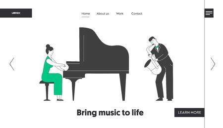 Pianist and Saxophone Concert Website Landing Page. Artists Playing Musical Composition on Grand Piano and Sax for Jazz Performance on Stage Web Page Banner. Cartoon Flat Vector Illustration, Line Art