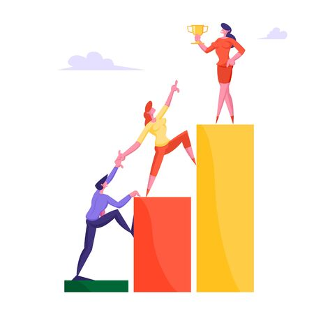 Businessman and Businesswoman Climbing Up Rising Financial Chart Trying Reach Out Woman Leader Stand on Top Holding Gold Goblet. Business Challenge Development Concept Cartoon Flat Vector Illustration