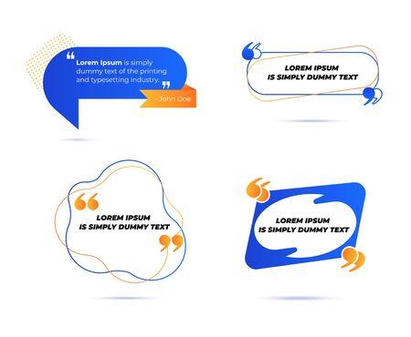 Conjunto de varias cotizaciones y burbujas de discurso, plantilla de diseño en blanco, marcos de cuadro de cotización. Observación, mención de citas y colección de texto destacado en el moderno estilo geométrico de Memphis. Ilustración vectorial de dibujos animados