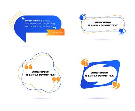 Set of Various Quotes and Speech Bubbles, Blank Layout Template, Quote Box Frames. Remark, Mention Quotations and Callout Text Collection in Trendy Geometric Memphis Style. Cartoon Vector Illustration