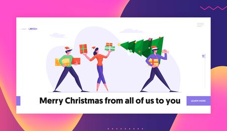 Business People Walking on Corporate Party Website Landing Page. Happy Friends Carrying Christmas Tree Preparing for Winter Season Holidays with Gifts Web Page Banner. Cartoon Flat Vector Illustration