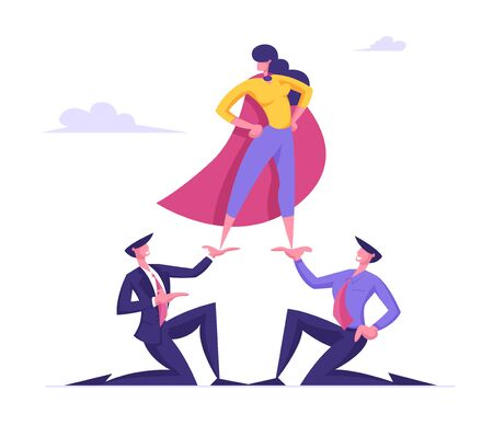Business Woman in Super Hero Cloak Stand on Top of Pyramid with Arms Akimbo. Business Men Holding Successful Colleague or Company Leader on Hands. Corporate Hierarchy Cartoon Flat Vector Illustration