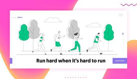 Sport Jogging Competition Website Landing Page. Group of People Running Marathon Distance. Athlete Sprinter Sportsmen and Sportswomen Run Web Page Banner. Cartoon Flat Vector Illustration, Line Art  イラスト・ベクター素材