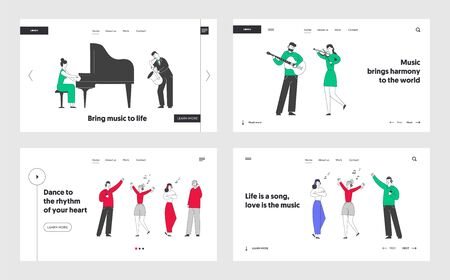 Popular and Classic Music Website Landing Page Set. Musicians Performing on Stage with Instruments. Young People Enjoying Listening Music Web Page Banner. Cartoon Flat Vector Illustration, Line Art