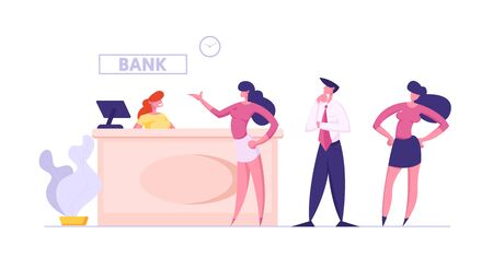 People in Bank Stand at Operator Desk Waiting Turn for Making Financial Operations and Consulting. Woman Client Talking to Worker in Uniform. Customer at Counter. Cartoon Flat Vector Illustration