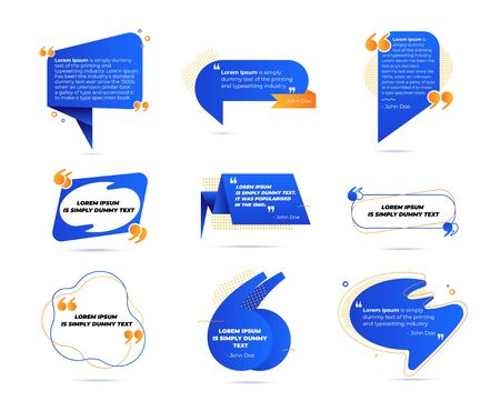 Big Set of Quote Box Frames for Texting and Messages. Colored Blank Templates for Text Info Design. Quotation Bubble Blog Symbols. Creative Elements for Banner Tag Sticker. Cartoon Vector Illustration 向量圖像