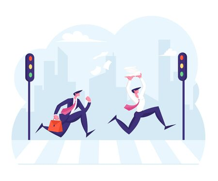 Pedestrians Passing Crosswalk. Rush Hour in City. People Rushing to Work. Busy Businessmen Holding Heap of Paper Documents Running Fast over Zebra with Street Lights Cartoon Flat Vector Illustration