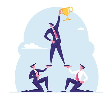 Successful Team Work Concept. Pyramid of Business People. Leader Holding Golden Goblet on Top. Leadership, Teamworking and Creative Idea, Conceptual Success Metaphor. Cartoon Flat Vector Illustration Illustration