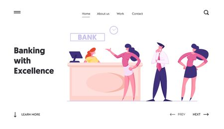 Customers at Bank Counter Website Landing Page. Business People Stand at Operator Desk Waiting Turn for Making Financial Operations and Consulting Web Page Banner. Cartoon Flat Vector Illustration Ilustração