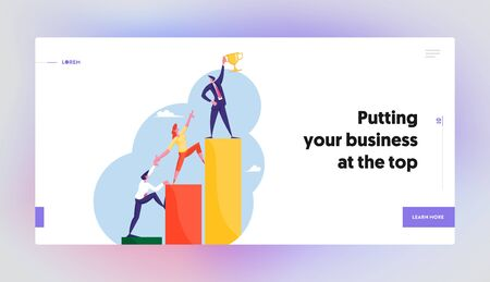 Professional Progress, Advancement Website Landing Page. Office Workers Characters Climb on Ascending Chart. Business Goal Achievement, Career Ladder Web Page Banner. Cartoon Flat Vector Illustration Çizim