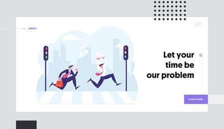People Rushing to Work Website Landing Page. Pedestrians Passing Crosswalk. Businessmen Holding Heap of Paper Documents Running Fast over Zebra Way Web Page Banner. Cartoon Flat Vector Illustration