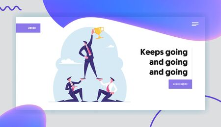 Teamworking Success Website Landing Page. Pyramid of Business People. Leader Holding Golden Goblet on Top. Leadership, Successful Team Work Concept for Web Page Banner Cartoon Flat Vector Illustration