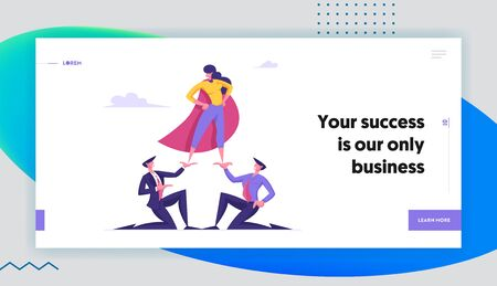 Corporate Hierarchy Website Landing Page. Business Woman in Super Hero Cloak Stand on Top of Pyramid. Business Men Hold Successful Colleague on Hands Web Page Banner. Cartoon Flat Vector Illustration Illustration
