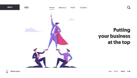 Corporate Leadership and Team Work Website Landing Page. Successful Manager in Super Hero Cloak Stand on Top of Pyramid with Finger Pointing Up to Sky Web Page Banner. Cartoon Flat Vector Illustration