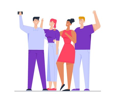 Photo of Happy Multiracial Group of Friends Standing Together Posing and Gesturing Making Selfie. Company of People Photographing on Smartphone. Friendship Relations Cartoon Flat Vector Illustration