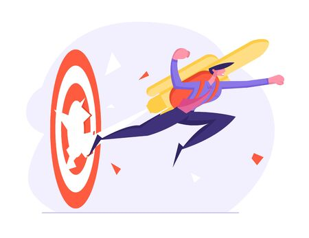 Cheerful Brave Businessman Punch Through Huge Target with Jet Pack on Back. Male Office Worker Manager Employee Flying by Rocket to Goal Achievement and Career Boost. Cartoon Flat Vector Illustration