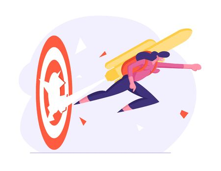 Girl with Rocket on Back Reach New Level of Development and Career Boost. Happy Business Woman with Jetpack on Back Punch Through Huge Target to Goal Achievement. Cartoon Flat Vector Illustration